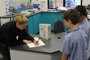 Signing St Kieran's copy of Max & George