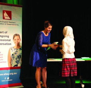 Cori Brooke with 1st placewinner, Section B Poem, Years 9&10, Karima Hussaini,Macgregor State HighSchool